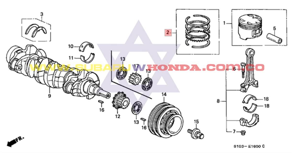 anillos motor honda crv 2001 awd 2 0 rvi  rvsi