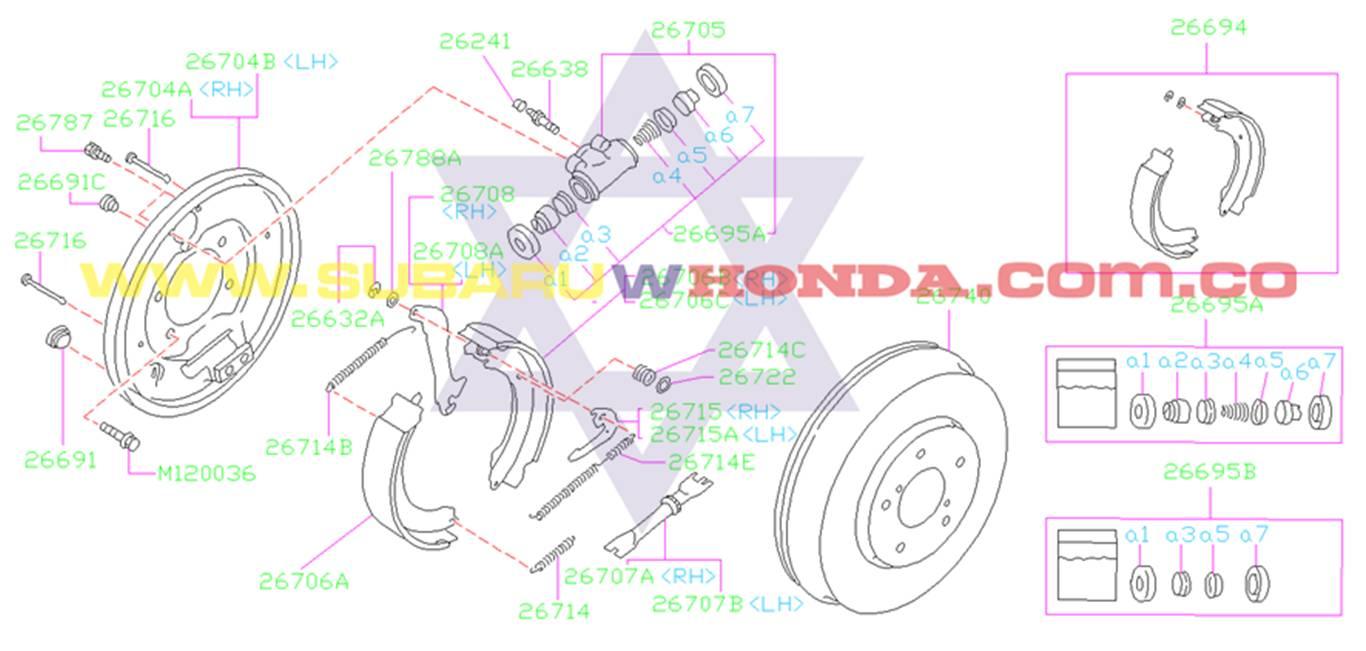 Bandas de frenos traseras Subaru Legacy 1992 catalogo