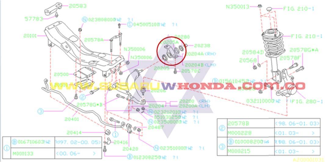 Buje tijera delantera izquierda Subaru Legacy 1993 catalogo