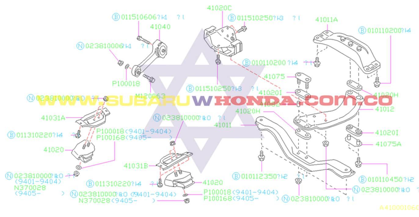 Soporte motor trasero Subaru Legacy 1992 catalogo