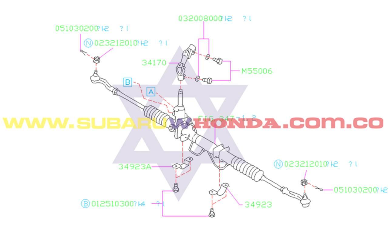 Caja de dirección Hidráulica Subaru Legacy 1994 catalogo