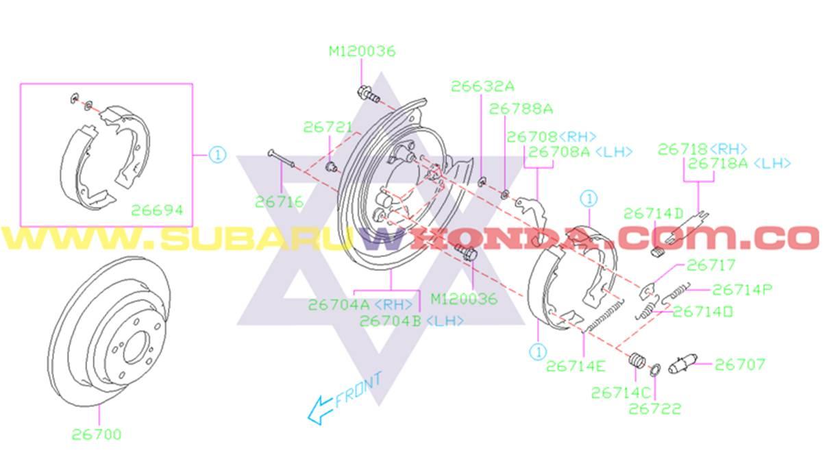 Disco de frenos trasero Subaru Legacy 1993 catalogo