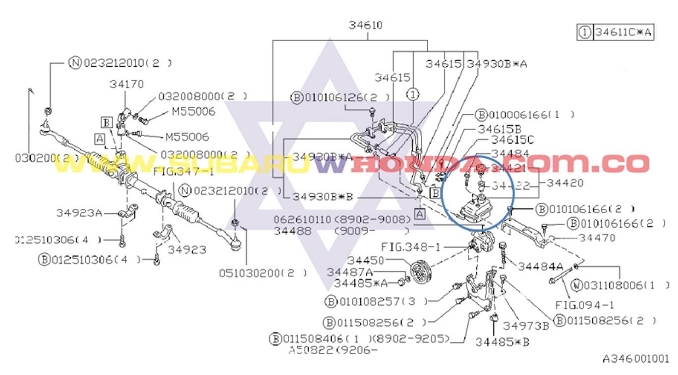 Tarro dirección hidraulica Subaru Legacy 1993 catalogo