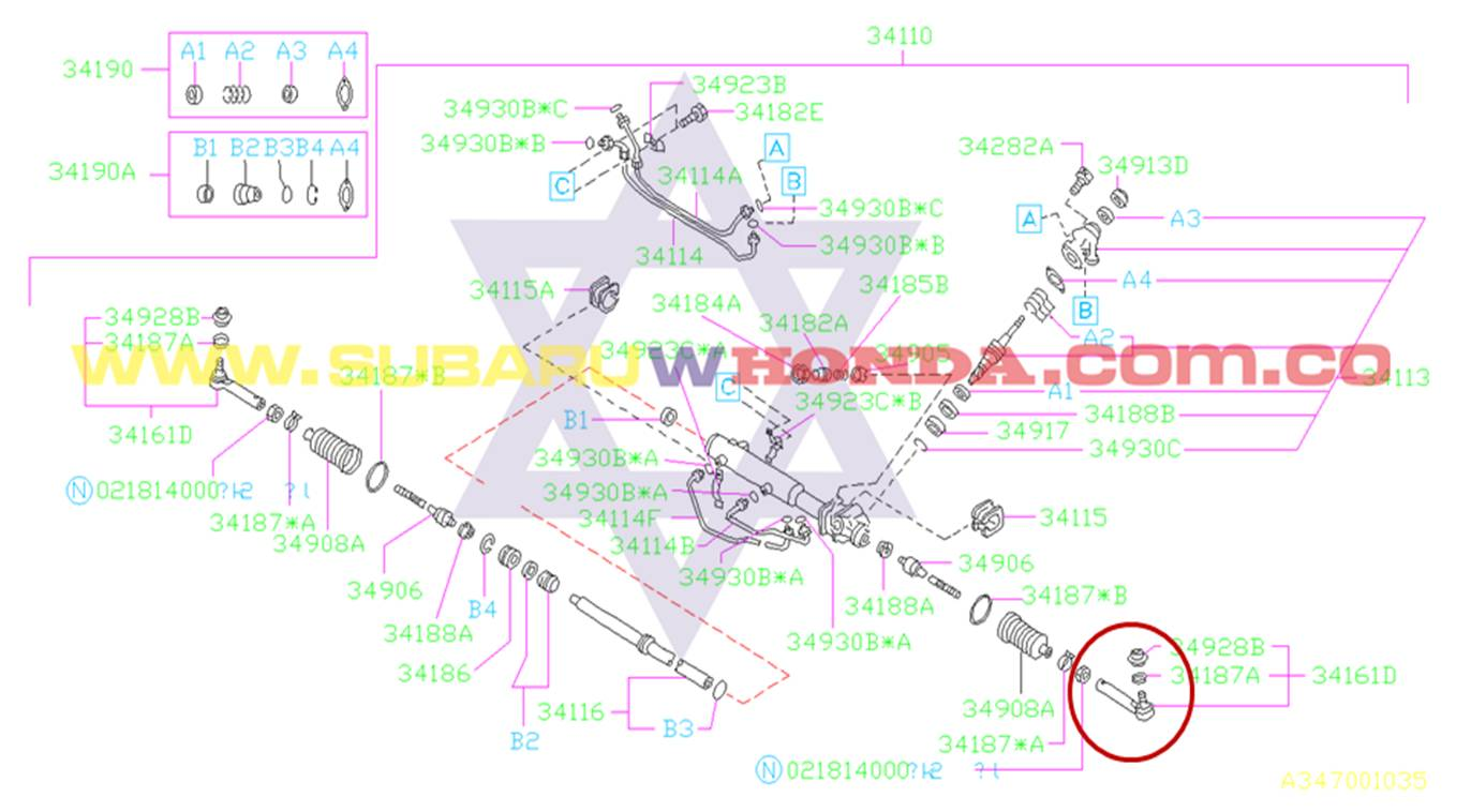 Terminal izquierda dirección hidraulica Subaru Legacy 1993 catalogo