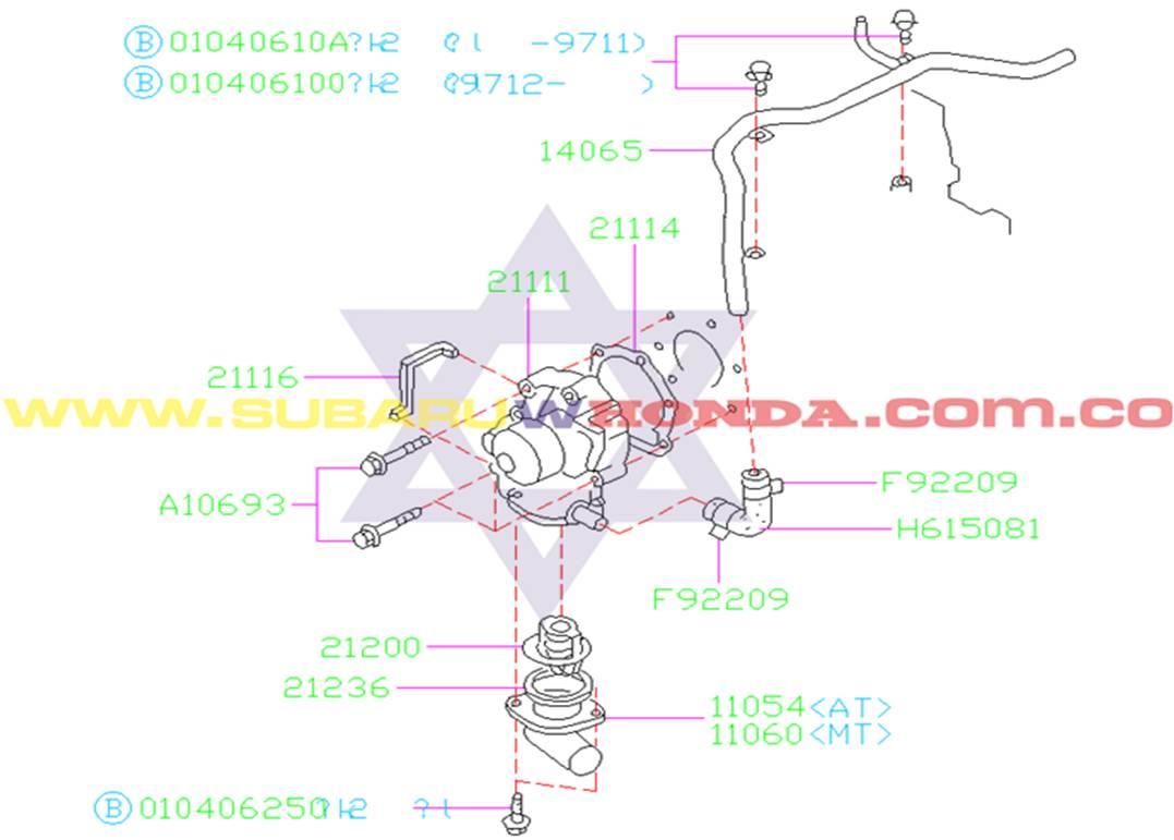 Bomba de agua Subaru Forester 2002 catalogo