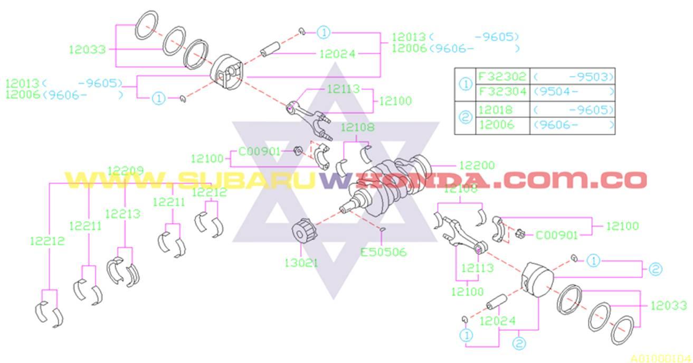 Cigueñal Subaru Forester 2001 catalogo