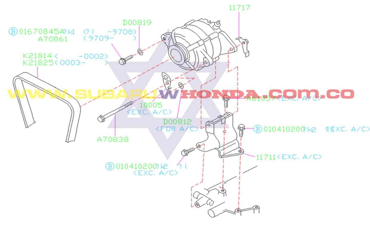 Correa del alternador Subaru Forester 2000 catalogo