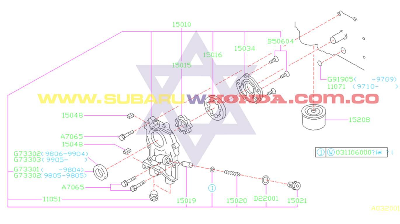 Filtro de aceite Subaru Forester 2002 catalogo