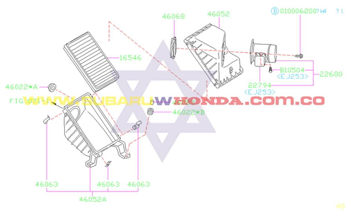 Filtro de aire Subaru Forester 2001 catalogo
