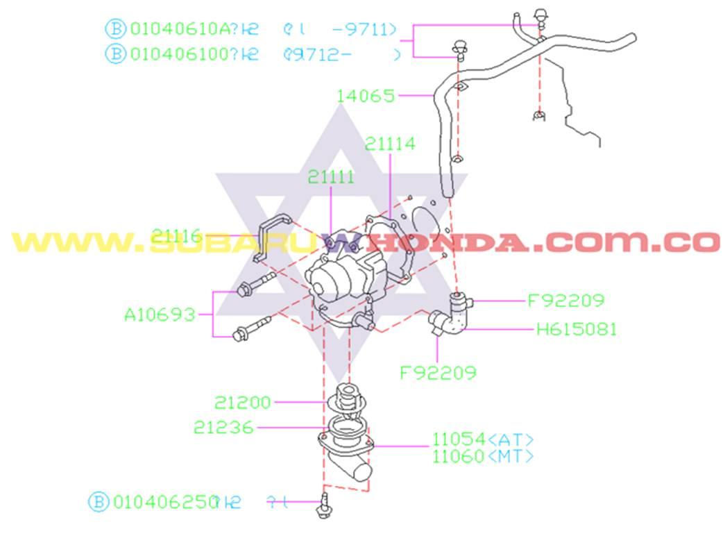 Manguera de calefacción Subaru Forester 2001 catalogo