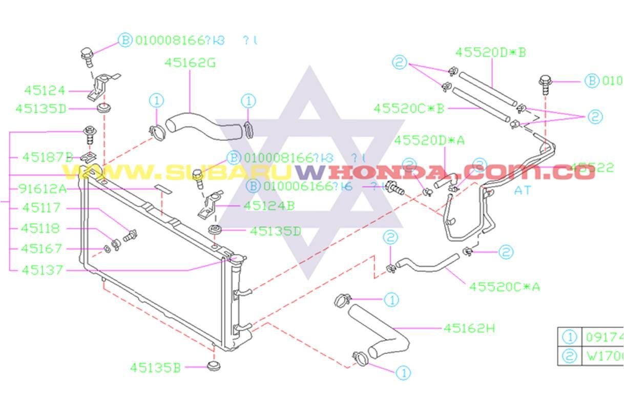 Manguera superior radiador Subaru Forester 2001 catalogo