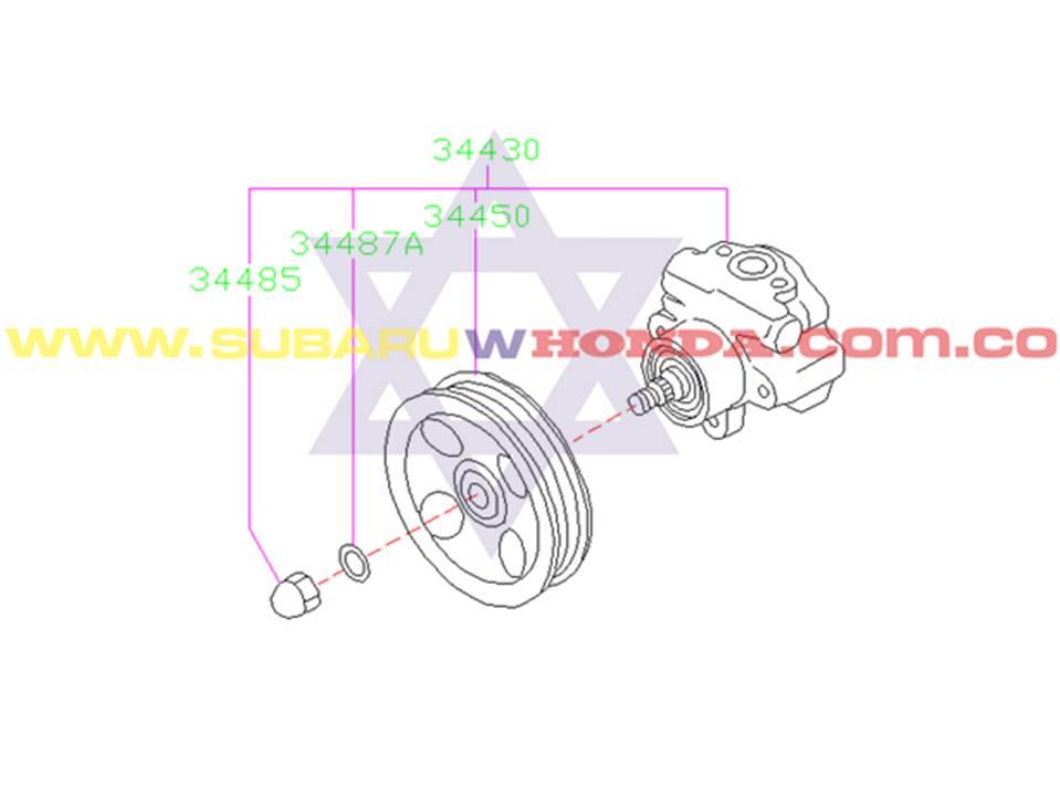 Polea bomba dirección hidráulica Subaru Forester 2001 catalogo