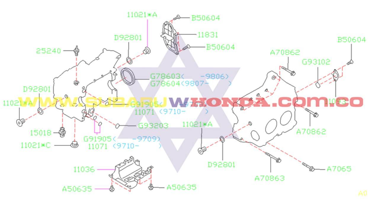 Tapa bloque motor Subaru Forester 2001 catalogo