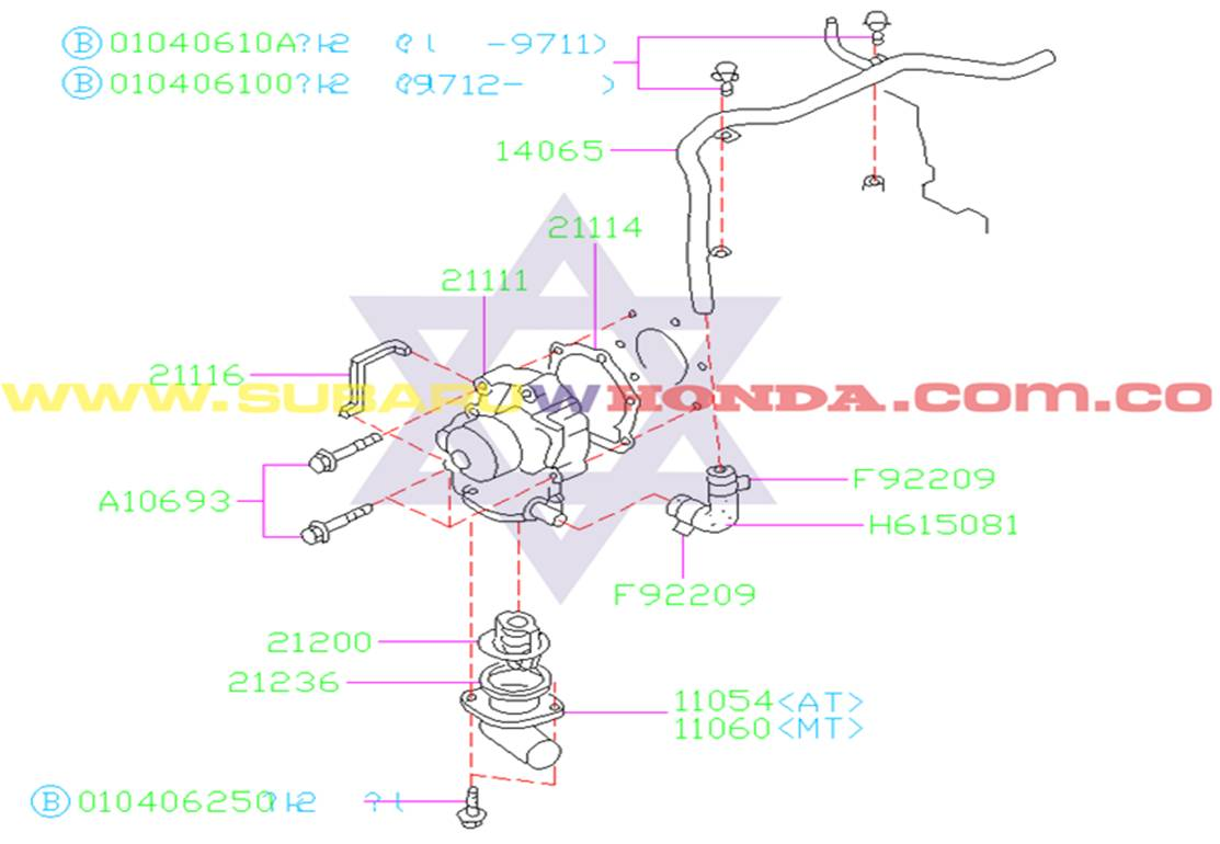 Termostato Subaru Forester 2001 catalogo