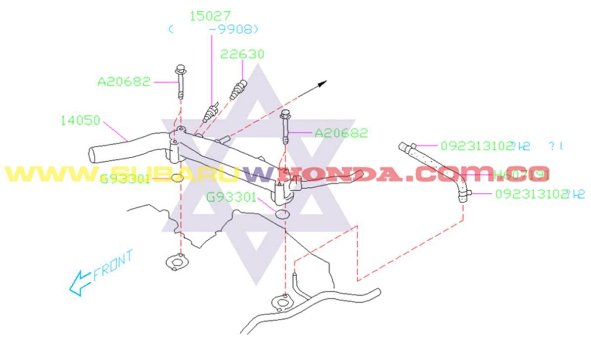 Tubo de agua Subaru Forester 2001 catalogo