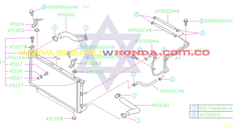 Manguera inferior radiador Subaru Forester 2000 catalogo