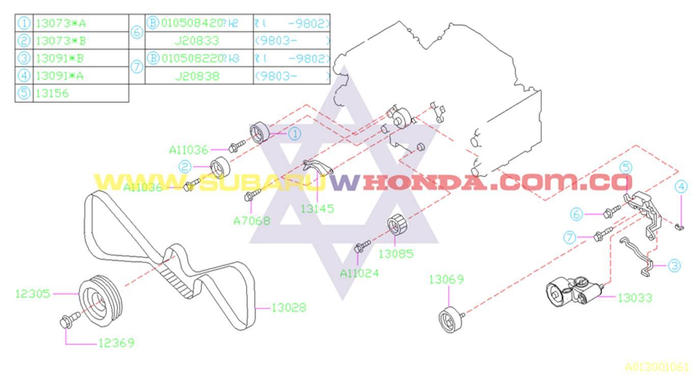 Patín repartición dentado Subaru Forester 2002 catalogo