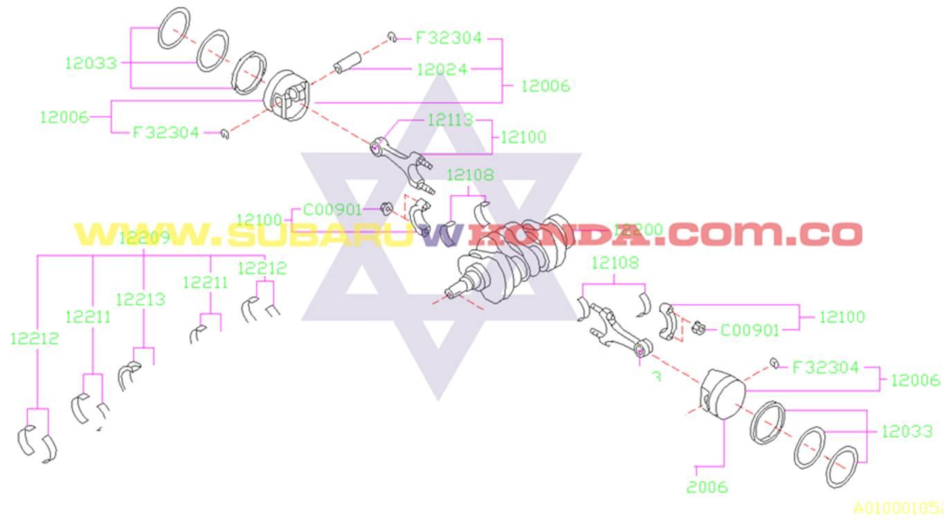 Pistones Subaru Forester 2000 catalogo