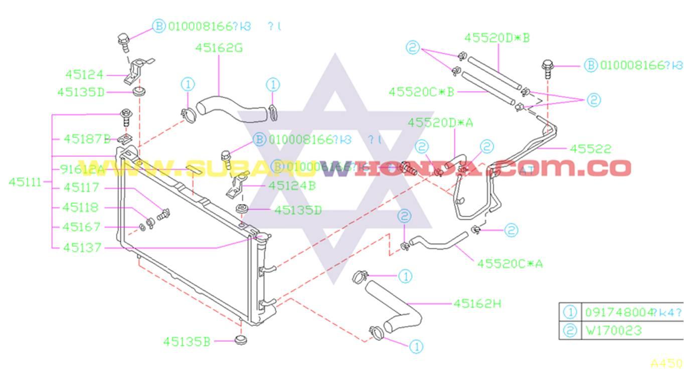 Radiador de agua Subaru Forester 2000 catalogo