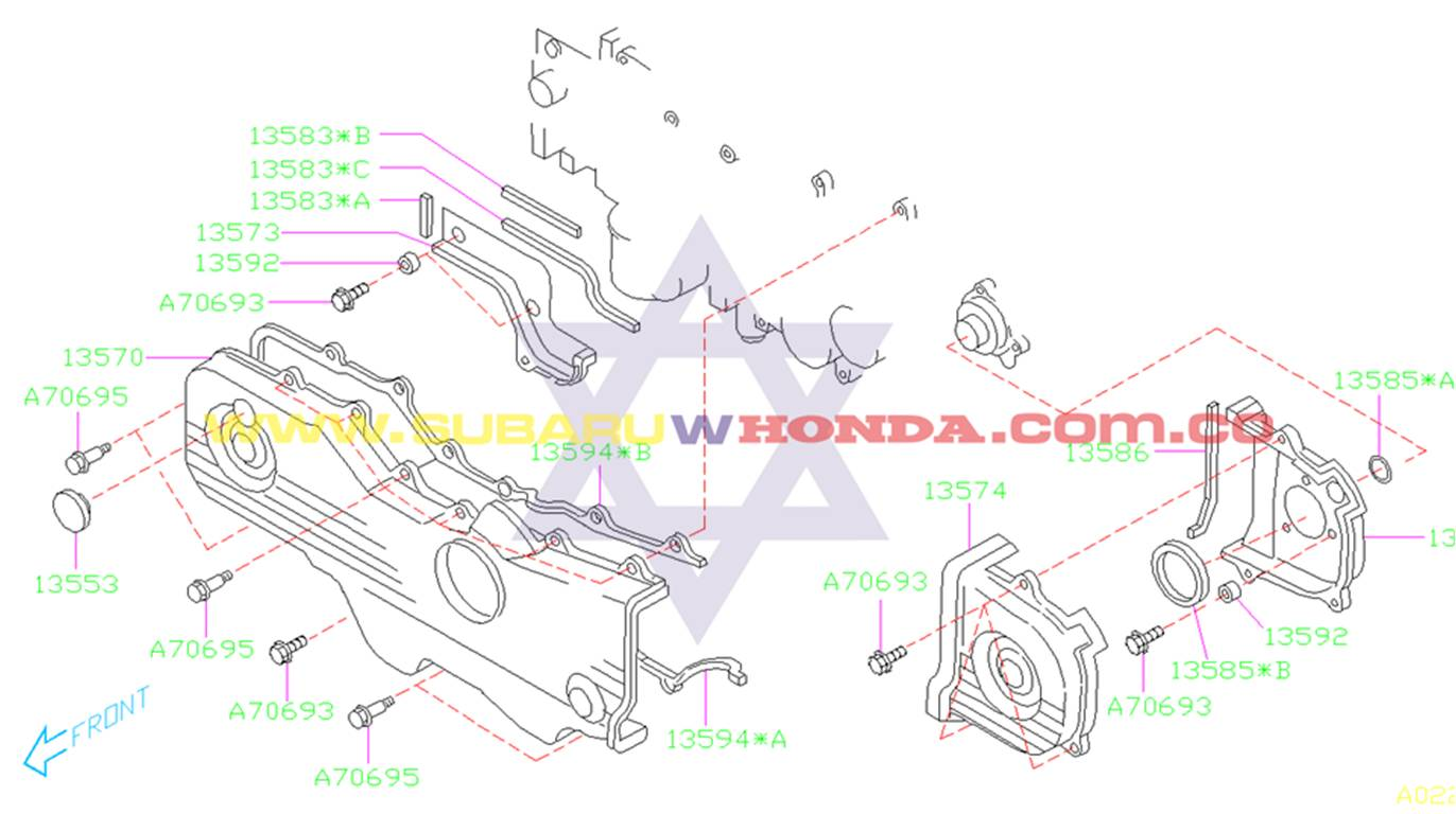 Tapa izquierda repartición Subaru Forester 2002 catalogo