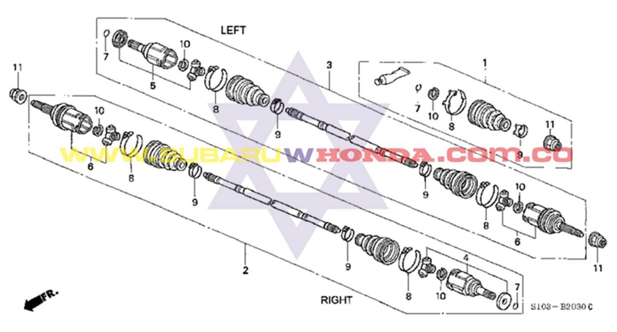 punta homocinetica eje trasera rueda honda crv 2000