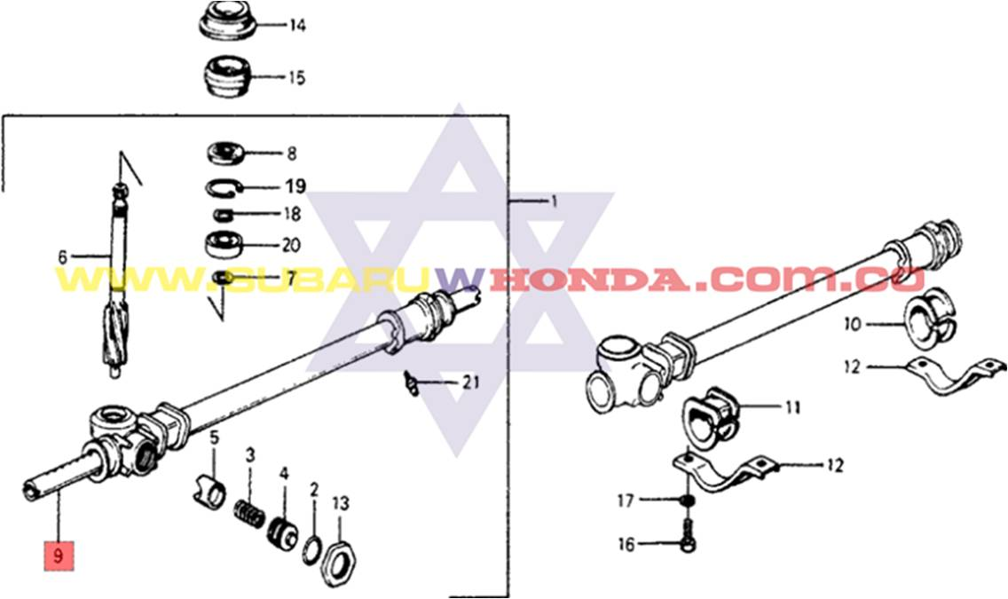 Caja de direccion mecanica Honda Accord 1977 catalogo