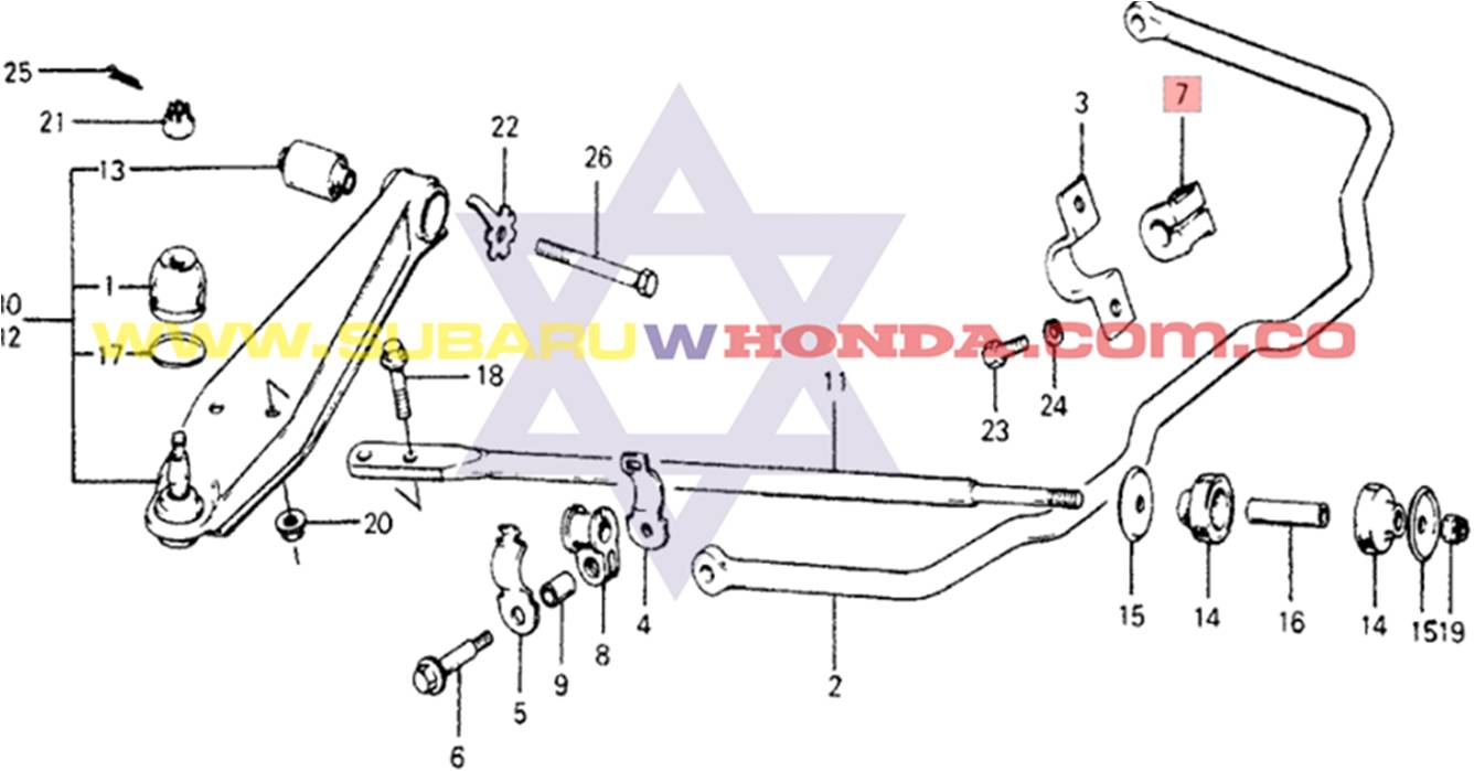 Cauchos delanteros barra estabilizadora Honda Accord 1977 catalogo