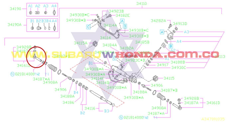 Terminal derecha dirección hidraulica Camioneta Subaru Impreza 1996 catalogo