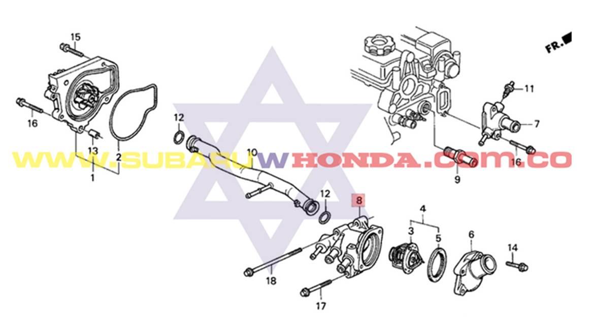 Base termostato grande Honda Integra 1993 catalogo
