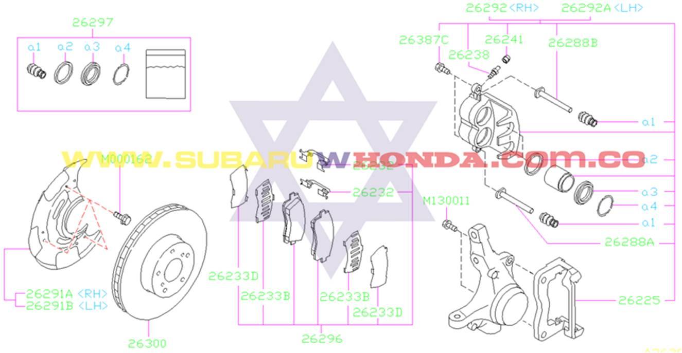 Disco de frenos delantero Subaru Impreza 1996 catalogo