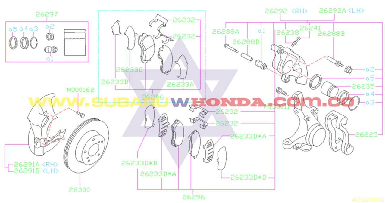 Pastillas de frenos delanteros Subaru Impreza 1996 catalogo