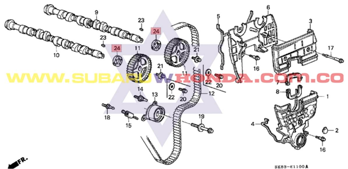 Retén eje de levas Honda Integra 1993 catalogo