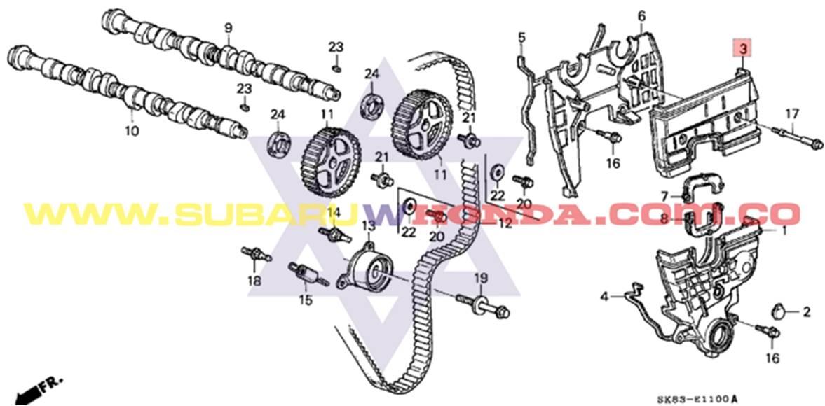 Tapa superior repartición Honda Integra 1993 catalogo