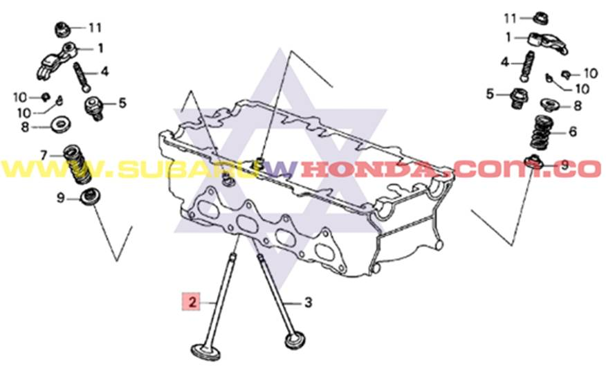 Válvulas de admisión Honda Integra 1993 catalogo
